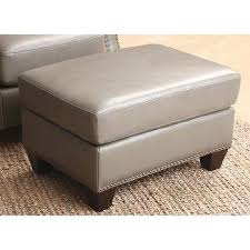 Gray Leather Ottoman Abbyson Living Newport Grey Leather Nailhead Trim Round Ottoman