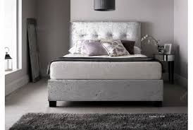 kaydian walkworth 6ft super kingsize silver velvet fabric ottoman