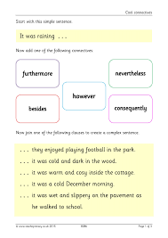 ks1 conjunctions and connectives teachit primary