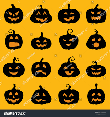 halloween decoration jackolantern silhouette set pumpkins stock