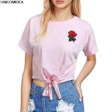 new fashion women t shirt summer kawaii embroidery rose aliens t