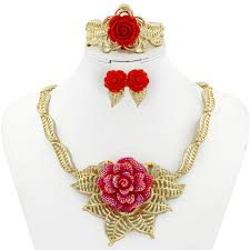 red gold necklace images 2018 new women italian classic red rose jewelry sets africa dubai jpg