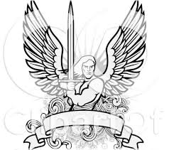 male angel warrior holding a sword over a blank banner tattoo