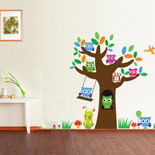 aw3018 sugar treasure owl tree nursery children s room wall