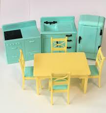Yellow Retro Kitchen Chairs - 1950 u0027s aqua yellow kitchen set vintage renwal dollhouse miniature