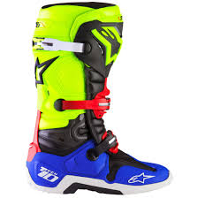 blue dirt bike boots alpinestars tech 10 a1 special edition blue yellow fluo red