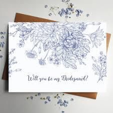 will you be my bridesmaid invitation you be my bridesmaid card in blue floral designed by rodo creative