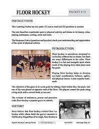 floor hockey an academic learning packet by advantage tpt