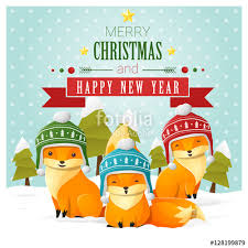 merry christmas and happy new year greeting card with fox family