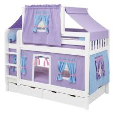 Camper Bunk Bed Sheets by Yellow Green Bed Sheet On The White Wooden Bunk Bed With Blue