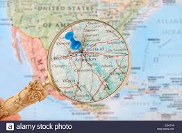 Dallas Texas On Map by Blue Tack On Map Of United States Of America With Magnifying Glass