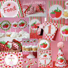 strawberry party package instant download dimple prints shop