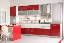 Red And White Kitchen Designs Sleek Kitchen Cabinets In Red Kitchen Design With White Floor