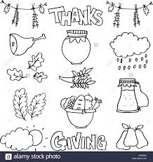 collection thanksgiving set of doodles stock vector
