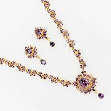 purple stone necklace set images Buy sthrielite violet stone necklace set online at low prices in jpg
