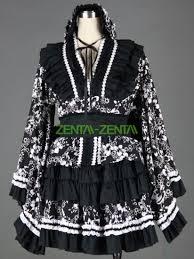 black sakula pattern kimono style cosplay dress 7g