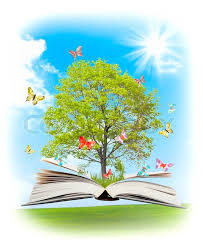 magic book with a green tree and diferent animals on the