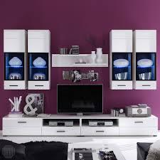 Wohnzimmerschrank In Bielefeld Wohnwand Attac 4 Anbauwand Wohnzimmer In Weiß Hochglanz Mit Led Ebay