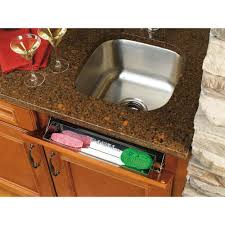 kitchen sink cabinet sponge holder rev a shelf 3 in h x 19 in w x 1 688 in d stainless tip out sink front tray 6541 19 52 the home depot