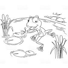 cartoon frog at lake coloring page vector stock vector art