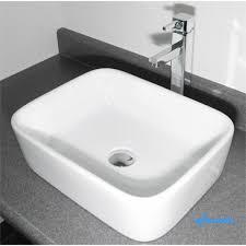 rectangular white porcelain ceramic countertop bathroom vessel