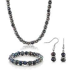 black pearl bracelet jewelry images Black cultured freshwater pearl necklace bracelet jpg