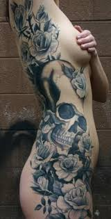 side tattoo big image of skull in roses tattooimages biz
