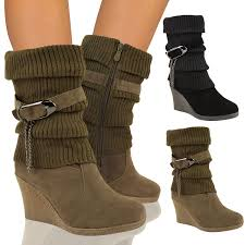 ankle boots uk ebay calf ankle boots mid high wedge heel winter sock biker knee