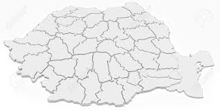 Romania Map 3d Blank Map Of Romania With Counties On White Background Stock