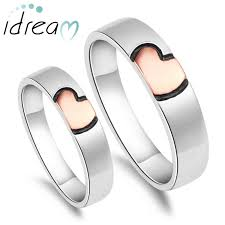 wedding ring sets for him and gold pink black heart rings set for women and men