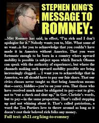 Stephen King Meme - stephen king s message to romney spydersden