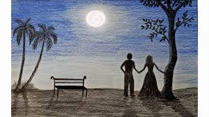 how to draw moonlight night scene step by step very easy youtube