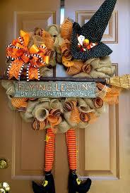 thanksgiving door decoration witch burlap wreath orange