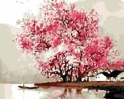 hasyou diy painting pink cherry blossom tree by numbers