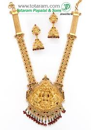 gold necklace with earrings images 22k gold 39 6 in 1 39 double side 39 lakshmi long necklace drop jpg