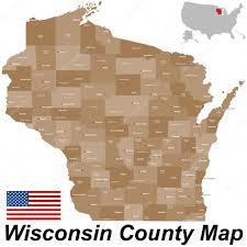 Wisconsin Rapids Map by Wisconsin County Map U2014 Stock Vector Malachy666 86027426