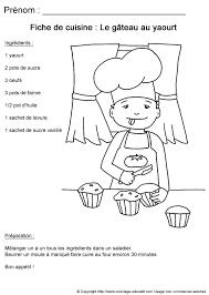 recette de cuisine gateau au yaourt coloriage educatif fiches de cuisine à colorier recette de