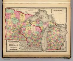 Wisconsin Map by Michigan Minnesota And Wisconsin David Rumsey Historical Map