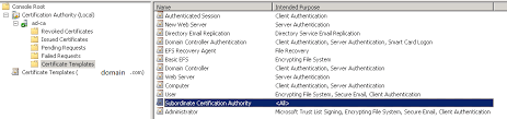 solution unable to see and select subordinate certification