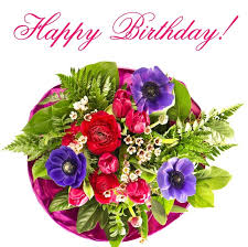 birthday boquets colorful flowers bouquet happy birthday card concept stock