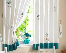 White Curtains With Blue Pattern Furniture Cute Decorative Kitchen Curtains For Kitchen Window