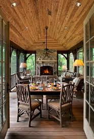 large screen porch with stacked stone fireplace fireplaces for
