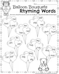 printable rhyming words kindergarten math and literacy worksheets for february planning