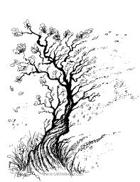 marker tree sketch black and white cartoon