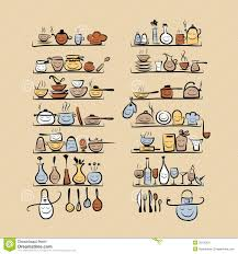 kitchen utensils sketch drawing for your design royalty free kitchen utensils characters on shelves sketch stock image