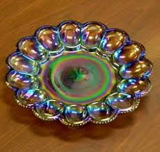 glass deviled egg plate vintage ornate iridescent green carnival glass deviled egg serving