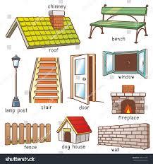 vector illustration cartoon parts house vocabulary stock vector