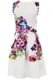 womens neon floral print panel block hem sleeveless party pleated