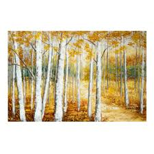 landscape canvas art countryside photography scenic wall art 24 x36 birch trees leaves hand painted canvas wall art