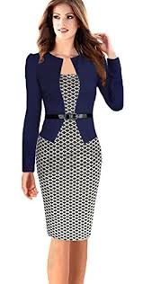 babyonline women colorblock wear to work business party bodycon